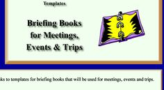Word Processing Templates - Briefing Books for Meetings, Events and Trips