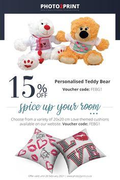 *Valid until 28 Feb 2021. Use Voucher code FEBG1 #Uniquegifts #specialgifts #personalisedgifts #Photo2Printza #giftIdeas #perfectgift #keepsake #Gauteng #Capetown #Durban #family #memorie #prints Personalised Teddy Bears, Voucher Code, Photo Book, Special Gifts, Personalized Gifts, Unique Gifts, Cushions, Coding, Prints