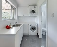 Neutral, simple Laundry design with Laminex benchtops #brilliantsa #laundry…