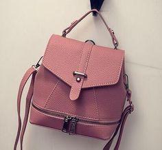 Ladies Soft PU Leather Mini Fashion Backpack 4 Colors