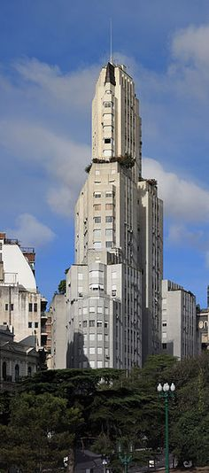 You are looking at a picture of the Kavanagh Building.  Again, this is a classic example of geometric shape which is a staple of Art Deco architecture.  The Kavanagh building was by Gregorio Sánchez, Ernesto Lagos and Luis María de la Torre and built in 1936.  The Kananagh building is located in Buenos Aires Argentina.