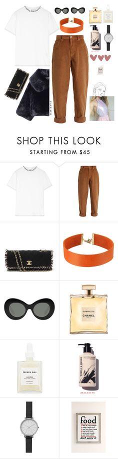 """faux lady"" by bartivana ❤ liked on Polyvore featuring Acne Studios, Miu Miu, Chanel, Vanessa Mooney, Elizabeth and James, French Girl, Skagen and Urban Outfitters"