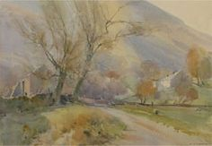 David Curtis, UK. Watercolor. Farmstead in the Edale Valley