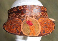 Leatherwork by Brian Kerrigan - Shop - Hand Crafted Leather Peak Cap/ Sun Visor - golfer