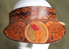 Leatherwork by Brian Kerrigan - Shop - Hand Crafted Leather Peak Cap/ Sun Visor - golfer