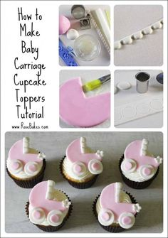 How to Make Baby Carriage Cupcake Toppers (Rose Bakes via Cake Journal).