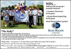 """""""Rally"""" your friends for a chance to win $100 towards your group's charitable fundraiser, a Southern Tide banner, a Rush Wilson Limited flag and Rush Wilson Limited goodies!  http://www.rushwilson.com/news/entry/the-rally/"""