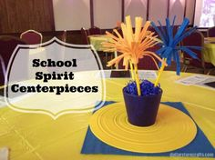 Fun #schoolspirit centerpieces!  #DIY   Craft Project: School Spirit Centerpieces
