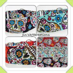 Sugar Skull Adjustable  Martingale Dog Collar  by JinsK9Kreations