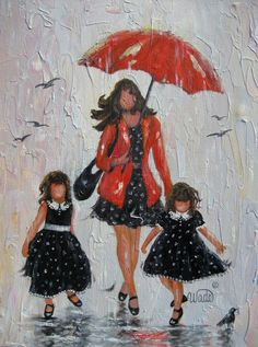 RESERVED for Char Rain Girls Original Painting, mother and two daughters…