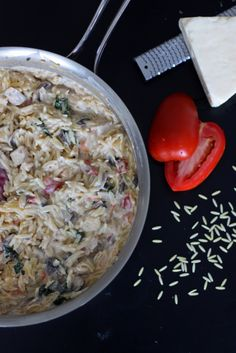 Cream Cheese and Chicken Orzo with Tomatoes and Basil. Dinner in 30 minutes or less!