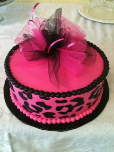 Pink leopard print cake- Sarah !!  for a shower or something lol