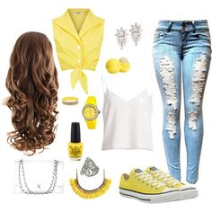 Yellow Mellow by savannahs-outfits on Polyvore featuring polyvore fashion style Converse Chanel Jet Set NOVICA Kate Spade Eos