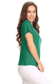 0c2aa4ec8e5 Simlu Short Sleeve Criss Cross Top for Women Reversible Deep V Neck Tops -  USA at Amazon Women's Clothing store: