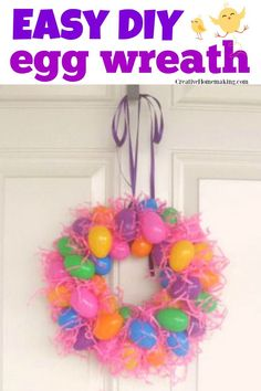 Easy DIY egg wreath for Easter made withe plastic eggs you can get from Dollar Tree! One of my favorite Easter wreaths for the front door. Easter Craft Activities, Easter Crafts, Art Activities, Plastic Easter Eggs, Diy Crafts For Teens, Birthday Party For Teens, Diy Ostern, Easter Holidays, Easter Wreaths