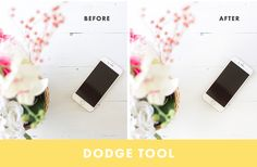 5 Essential Photoshop Tools To Edit Your Blog Photos With -- dodge tool to brighten underexposed areas of a photo (without blowing out the other, correctly-exposed, areas)