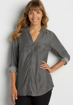 button down chambray tunic shirt in gray (original price, $39.00) available at #Maurices