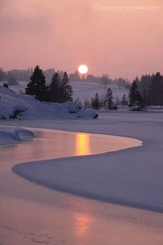 Winter Sunrise on Lake Cadillac Print by Terri Gostola. Winter Sunrise on Lake Beautiful Sunset, Beautiful World, Beautiful Places, Beautiful Pictures, Beautiful Scenery, Beautiful Beautiful, Foto Picture, Photos Voyages, Snow Scenes