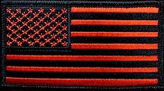 """[Single Count] Custom, Cool & Awesome {3"""" x 2"""" Inches} Small Rectangle Military Armed Forces Stars and Stripes National American Flag (Tactical Type) Velcro Patch """"Orange & Black"""" mySimple Products"""