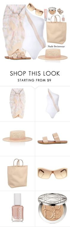 """Let's Go Nude"" by kimzarad1 ❤ liked on Polyvore featuring Norma Kamali, Janessa Leone, Bonnibel, Caroline De Marchi, ESCADA, Essie and Christian Dior"