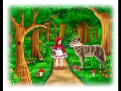 Little Red Riding Hood lived in a wood with her mother. One day Little Red Riding Hood went to visit her granny. Little Red Riding, Little Red Ridding Hood, Sleeping Wolf, Red Riding Hood Story, Sweets Art, Fairy Tales For Kids, Kids Pages, Little Birds, Stories For Kids