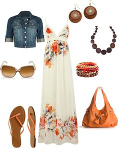 Very spring. Love the floral dress and flip flops.