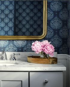 Park and Oak Design - fabulous bathroom - gold mirror - wallpaper- Little Lotus - Galbraith and Paul