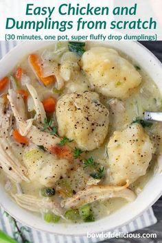 This Chicken and Dumplings recipe is SO EASY to make from scratch if you use rotisserie chicken and storebought broth Its a fast easy comforting soul food to make on busy nights. The fresh thyme in the dumplings sets it over the edge. Soup Recipes, Chicken Recipes, Dinner Recipes, Cooking Recipes, Healthy Recipes, Cooking Time, Quick Food Recipes, Recipies, Recipe Chicken