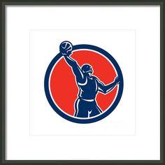 Basketball Player Rebounding Lay-up Ball Circle Framed Print By Aloysius Patrimonio