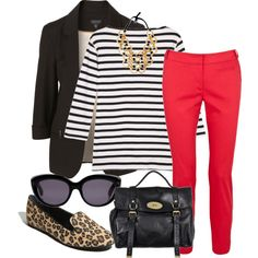 red pants, leopard flats- me in red pants might be scary but....