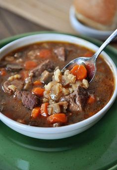 Mel's Kitchen Cafe | Slow Cooker Beef and Barley Soup {Plus Two New Menu Features}