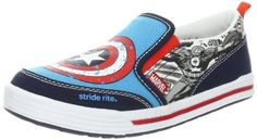 Stride Rite Captain America Sneaker (Toddler/Little Kid) Stride Rite. $26.03. Rubber sole. Elastic panels on both sides for easy on and off with a flexible fit. He will love he fun Captain america printed canvas uppers. Canvas. Boys Stride Rite, Marvel Comics Captain America Slip-on Shoes. Soft Textile lining. Cushioned footbed