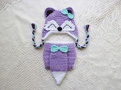 Mint Green Peach and Light Grey Fox Crochet Hat and Diaper