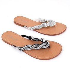 Womens Sandals Flats Flip Flops Rhinestones Thongs Rubber Outsole Woven Straps
