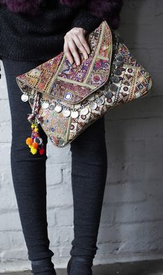 Antik Batik embellished oversized clutch bag, love the coin detail.I loveeee things like this. Hippie Chic, Hippie Elegante, Mode Hippie, Estilo Hippie, Hippie Gypsy, Fashion Bags, Boho Fashion, Punk Fashion, Leather Fashion
