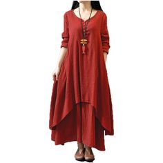 Top Fashion 2016 Autumn Women Casual Loose Long Sleeve Dress Cotton Linen Solid Long Maxi Dress Vestidos Plus Size S-5XL