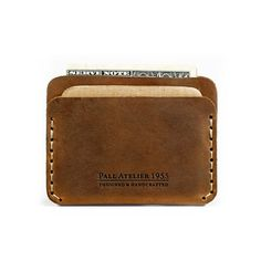 Slim Leather Wallet with cash and credit card by AtelierPall, $28.99