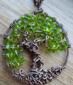Tree with hidden nook necklace-Tree of Life- Wire sculpture-One of a kind- Spring Green
