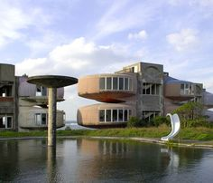 Sanzhi Pod City is located just outside of New Taipei City, Taiwan. Construction of this UFO style housing development began in 1978, and was intended to be a vacation resort marketed toward US military personnel.