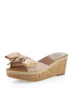 Penny Bow Wedge Slide, Camellia Pink by Tory Burch at Neiman Marcus.
