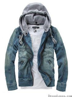 Men Blue Zipper Jean Jacket/Coat M/L/XL@X302NH11S0D13