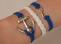 Antique Silver Bracelet, Anchor Jewelry, Silver Infinity Bracelet, Blue Bracelet, Everyday Bracelet on Etsy, $6.99