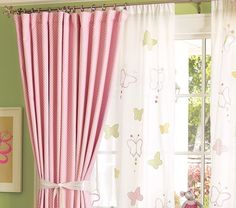 The Benefits of Blackout Shades For Baby Room : Beautiful Baby Nursery With Pink Blackout Curtain Designed With Butterfly White Curtain Combine With Green Wall