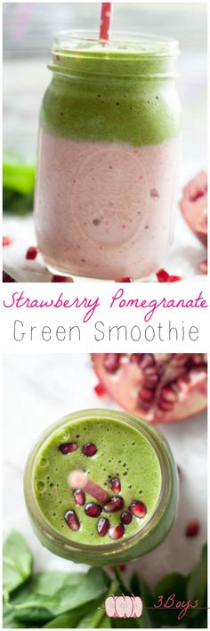 Strawberry Pomegranate Green Smoothie with two delicious layers! Click the image or link for more smoothie information. Green Smoothie Recipes, Yummy Smoothies, Juice Smoothie, Smoothie Drinks, Yummy Drinks, Healthy Drinks, Healthy Snacks, Yummy Food, Healthy Recipes