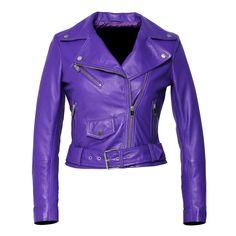 Womens Moto Nappa in Deerskin Emboss Patent Purple Leather Jacket Purple Leather Jacket, Leather Jacket Outfits, Purple Jacket, Fashion Gal, Fandom Fashion, Purple Fashion, Deer Skin, Stage Outfits, Jackets For Women