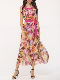 Bowknot Crew Neck Chiffon Floral Maxi Dress