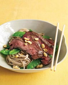 Asian Noodle Bowls with Steak and Snow Peas | 23 5-Ingredient Summer Dinners To Make On A Weeknight