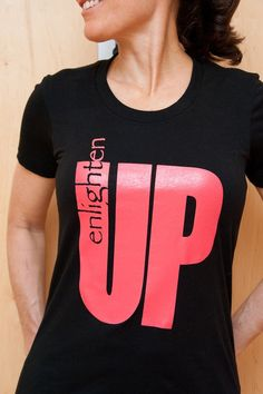 "ON SALE Black Small ""Enlighten up"" women's tee on Etsy, $9.00"