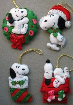 This is a set of 4 Vintage Handmade Snoopy Bead Sequin Jeweled Christmas Ornaments era. Each is handstitched with great detail. The ornaments include: Snoopy sleeping on top of Doghouse, Snoopy inside a Wreath, Snoopy in a Stocking, . Felt Christmas Decorations, Christmas Ornaments To Make, Christmas Sewing, Felt Ornaments, Christmas Projects, Felt Crafts, Holiday Crafts, Christmas Crafts, Sequin Ornaments