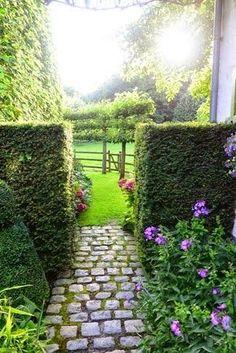 Brick way for backyard walkway - love the walls. by loreal Garden Shrubs, Garden Landscaping, Garden Path, Garden Beds, Back Gardens, Outdoor Gardens, Landscape Design, Garden Design, Jardin Decor